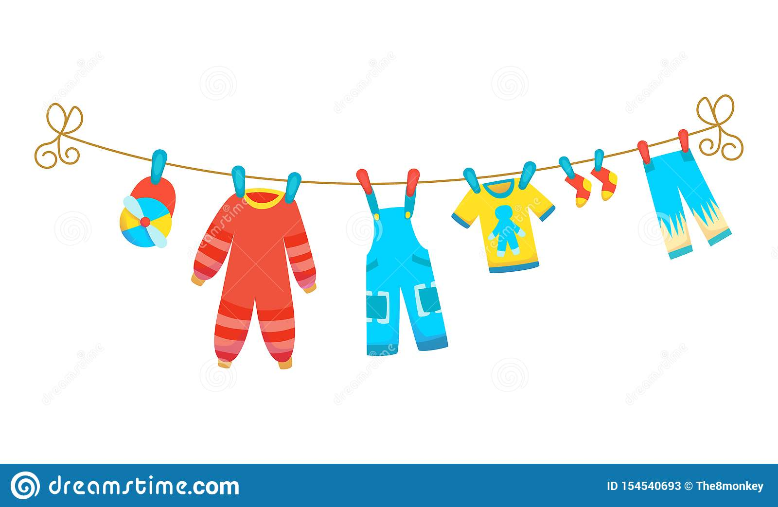Various items of baby clothes on rope isolated vector illustration on white background. Laundry held by plastic pegs