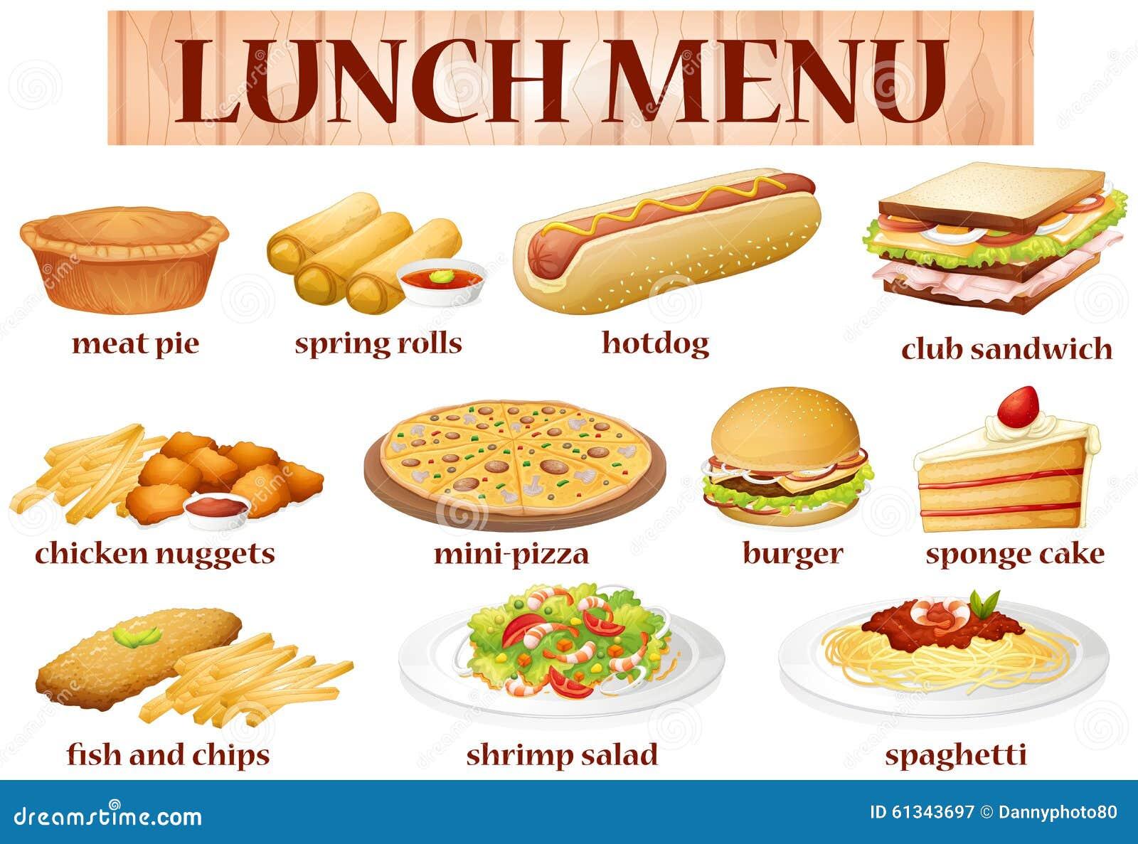 various kind of food for lunch stock vector image 61343697 Steamed Shrimp Clip Art Cocktail Clip Art