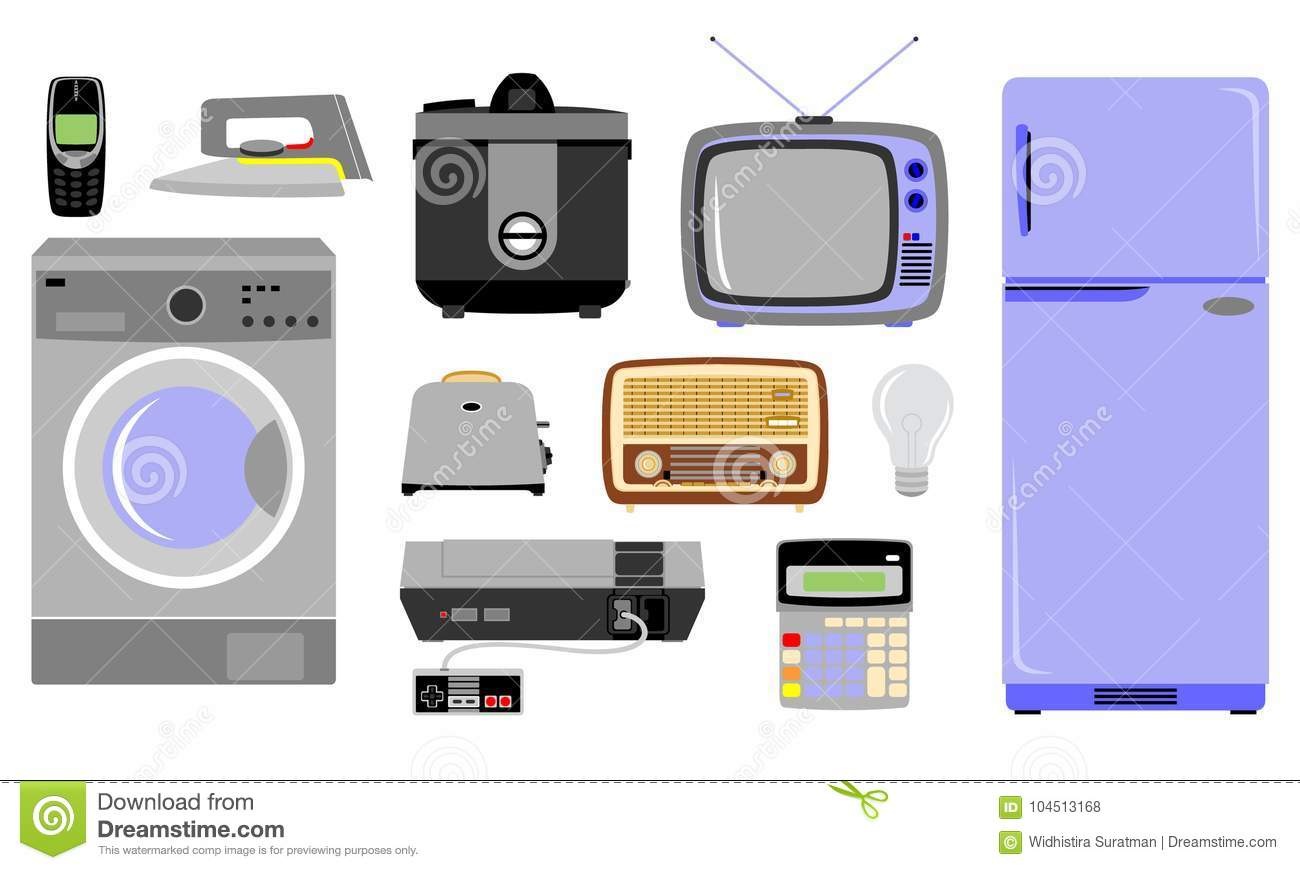 Various Kinds Of Electronic Goods Stock Vector - Illustration of ...