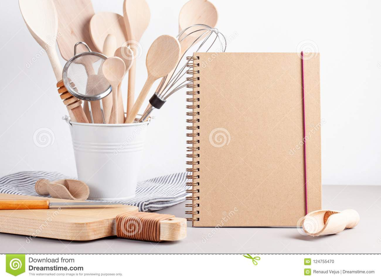 Various kitchen utensils. Recipe cookbook, cooking classes conce