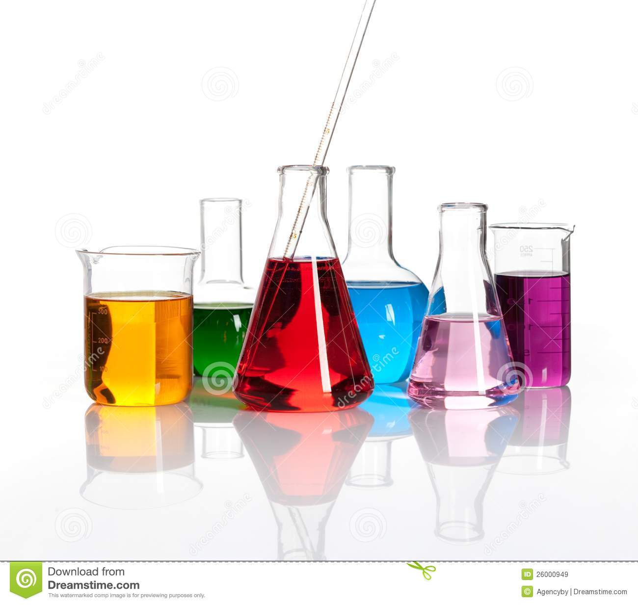 Various laboratory flasks with a colored liqiuds