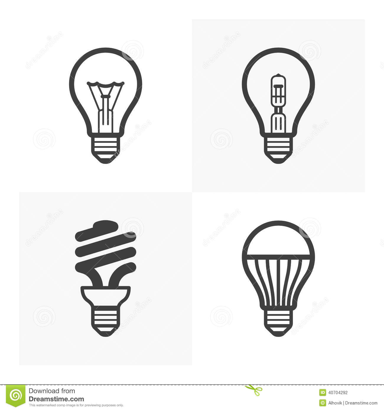 Various Light Bulb Icons Stock Vector Image 40704292