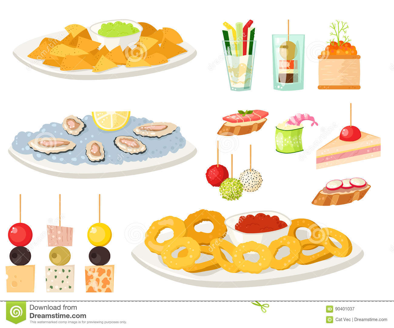 Various meat canape snacks appetizer fish and cheese for Canape vector download