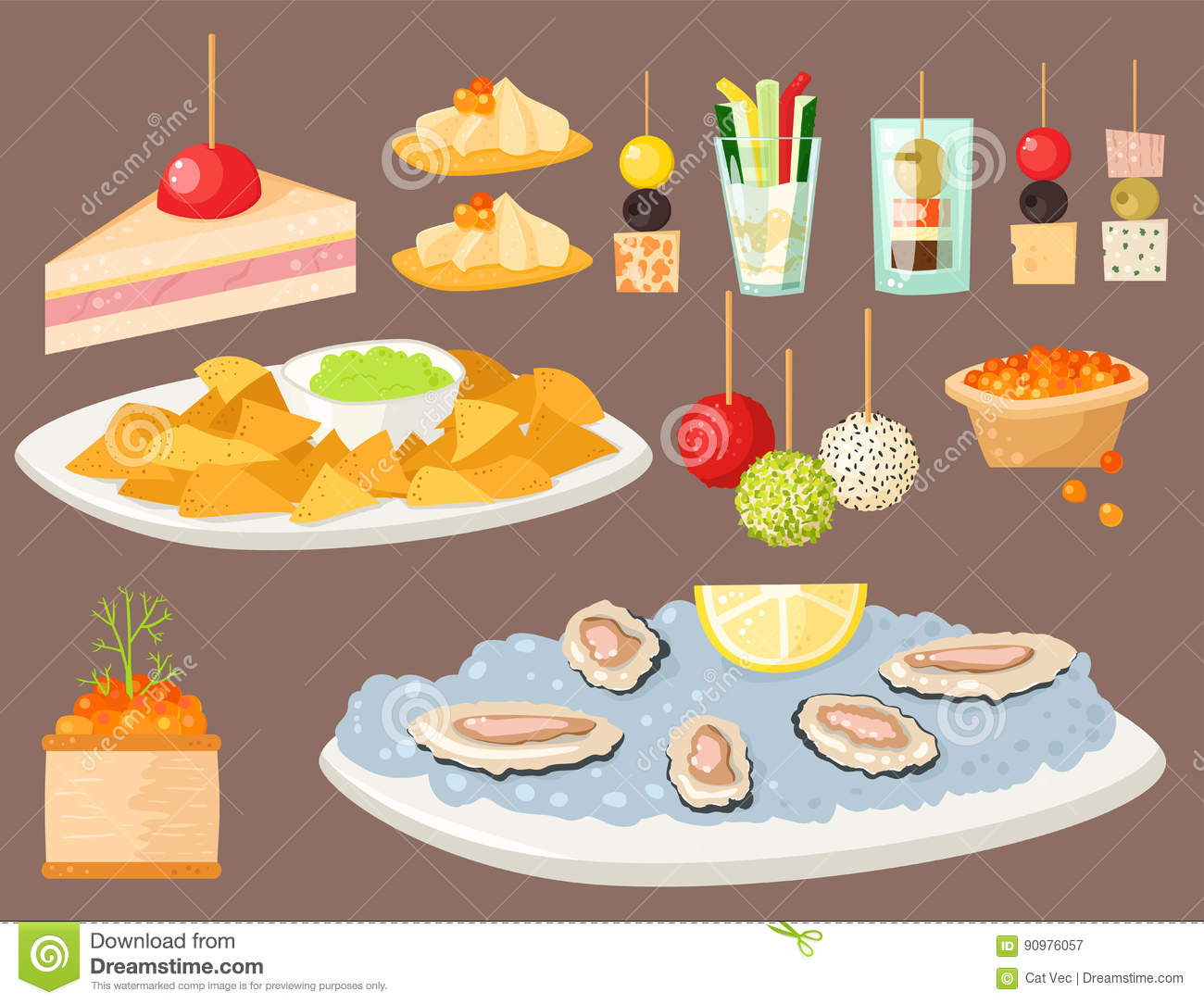 Various meat fish cheese banquet snacks on banquet platter for Canape banquette