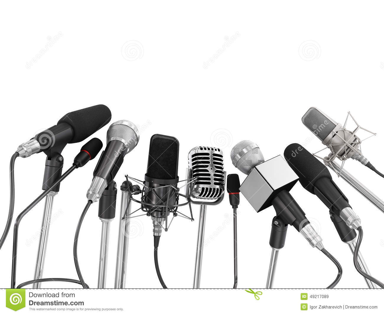 Various Microphones Aligned At Press Conference Stock