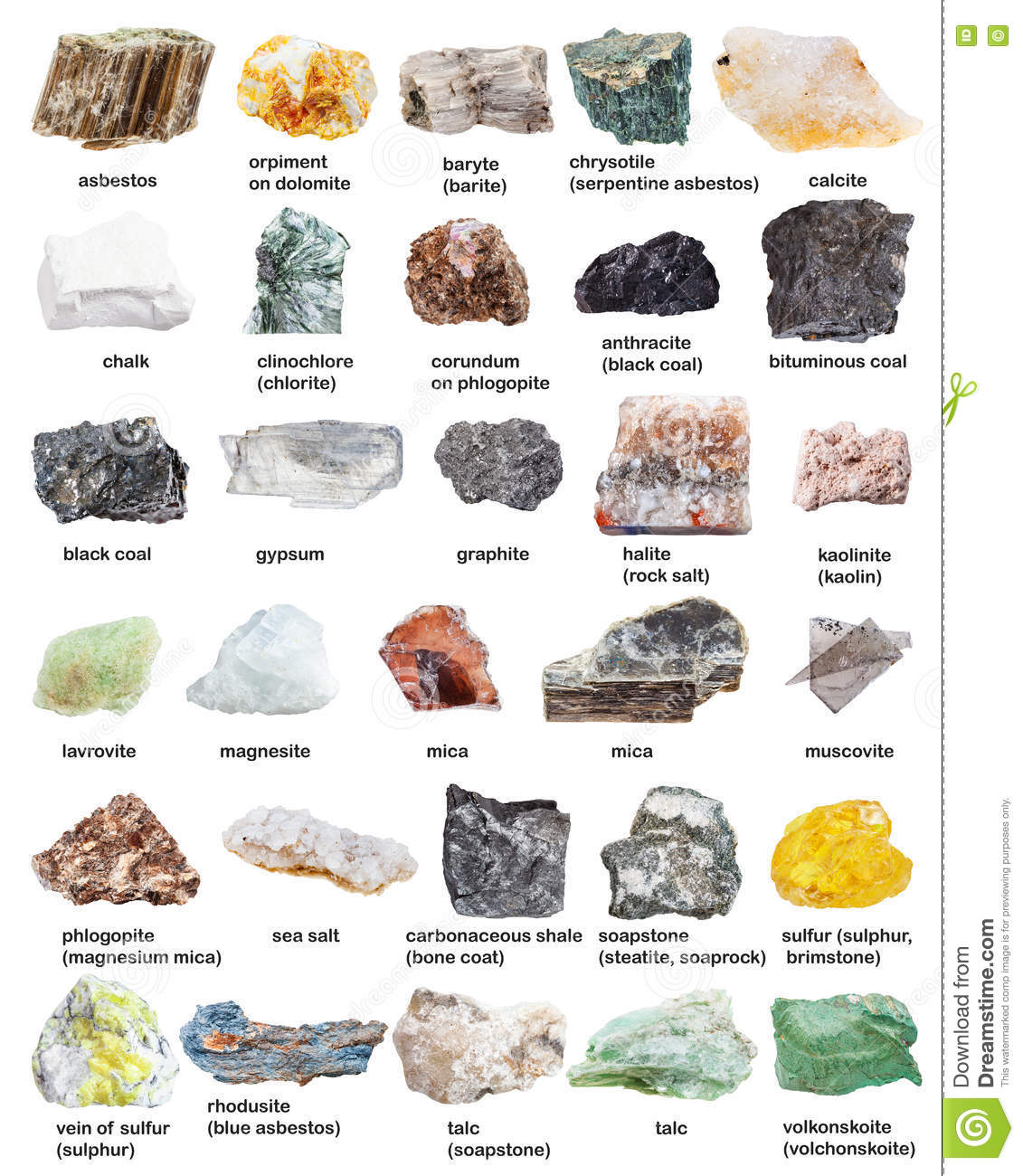 Various Mineral Stones Minerals With Names Stock Photo - Image of ...