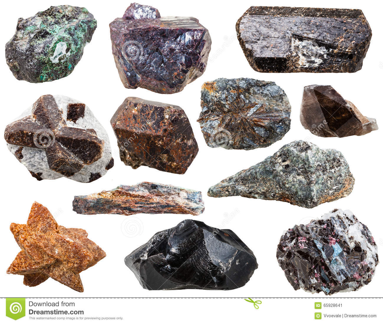 Various natural rocks and stones isolated