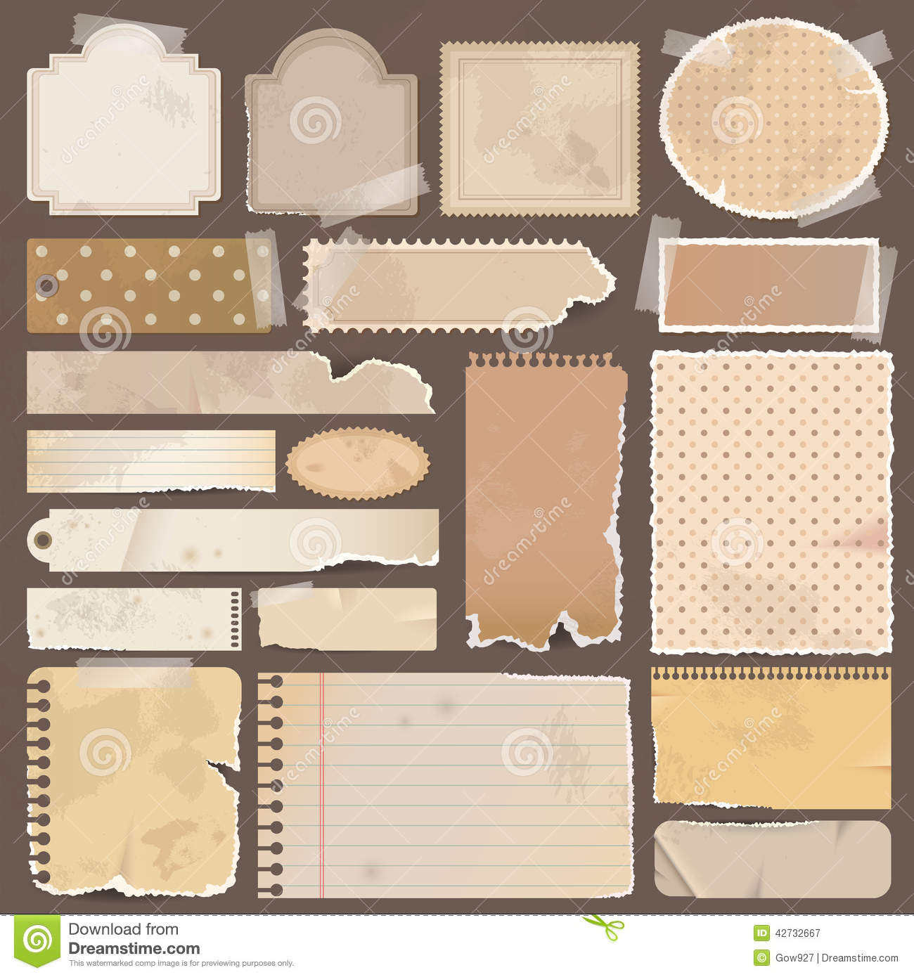 Scrapbook paper note - Various Old Remnant Pieces Of Paper Scrapbook An Royalty Free Stock Photography
