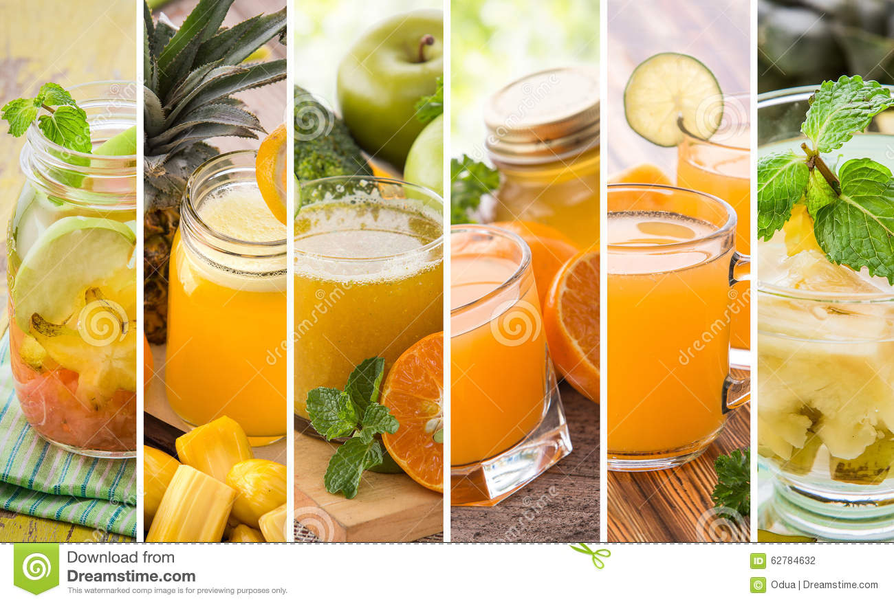 Various orange juices from mix tropical fruit