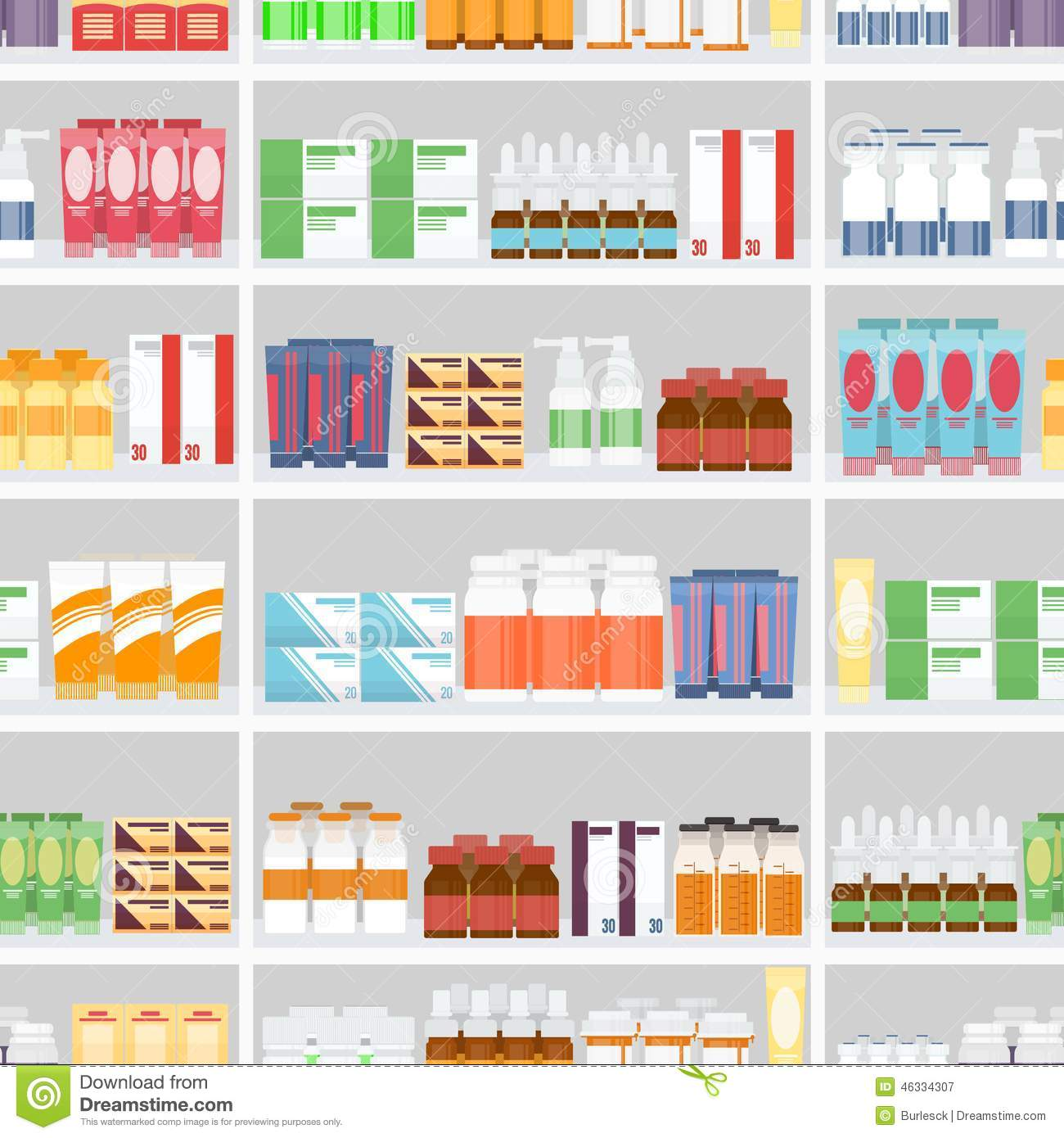 various pills and drugs on shelves stock vector