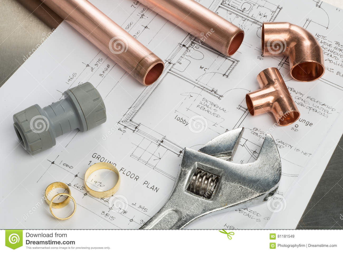 Plumbing tools and materials royalty free stock image