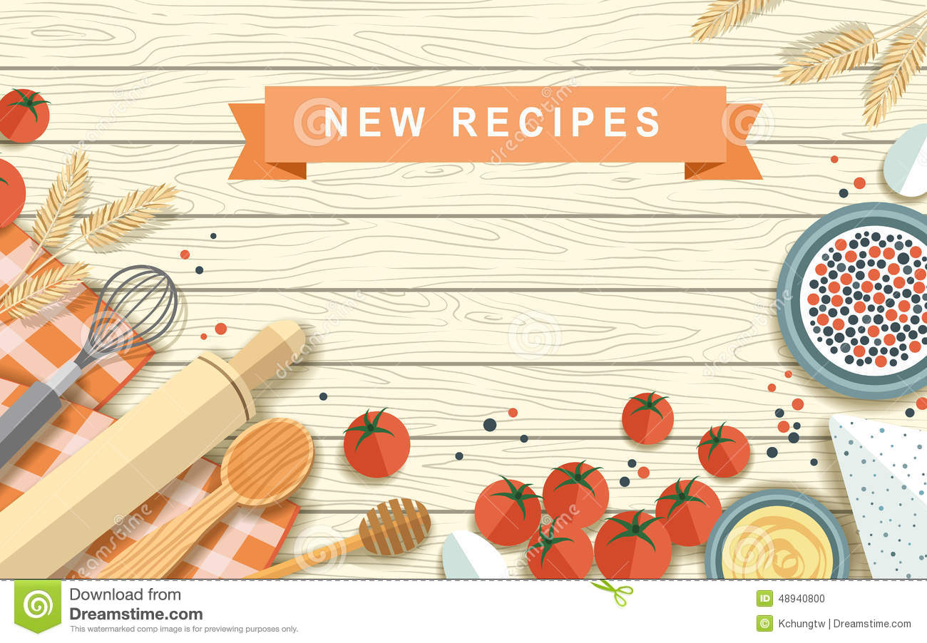 Various recipe ingredients in flat design stock vector for Home ingredients design