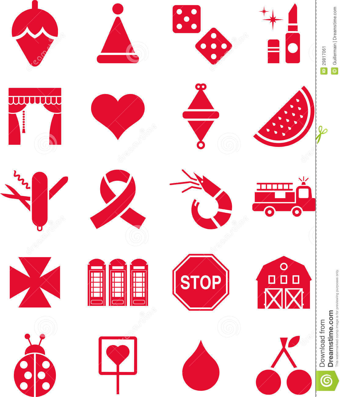 Red icons stock vector  Illustration of theme, colour - 29817061