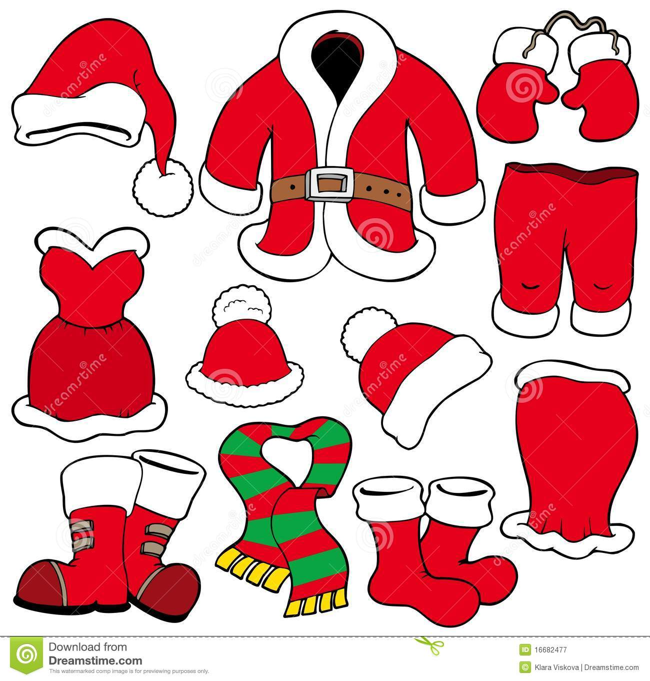 Various santa claus clothes stock vector image