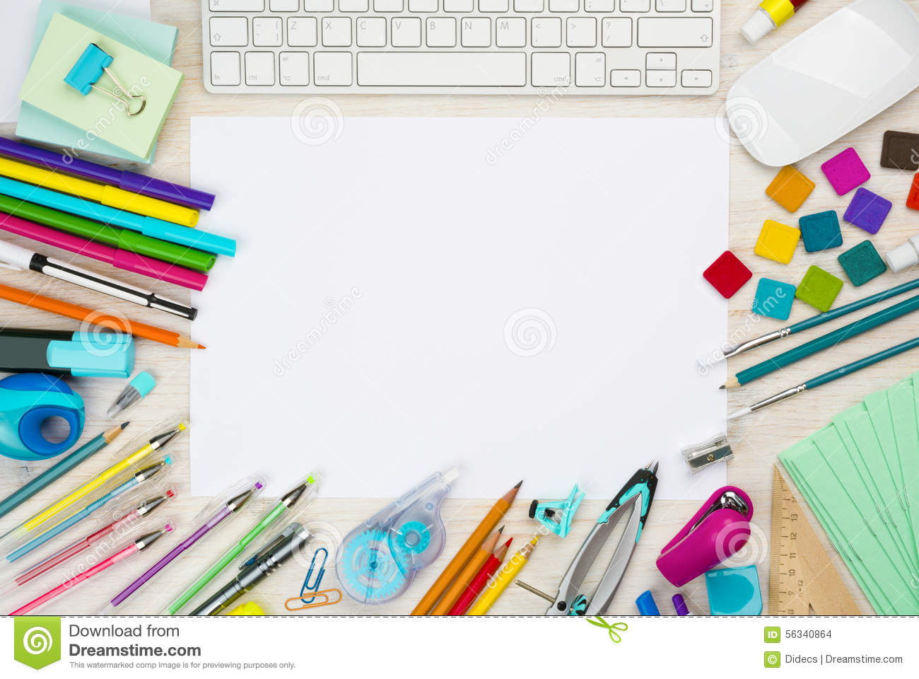Various School Supplies Background With White Sheet In The