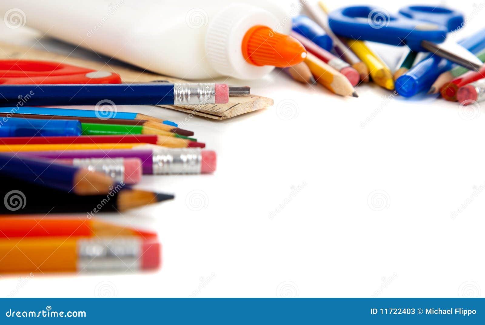 Various School Supplies On A White Background Stock Photos ...