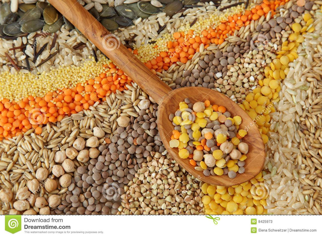 Various seeds and grains