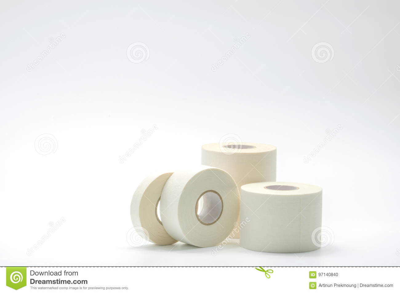 Various size of sport bandage tapes collection