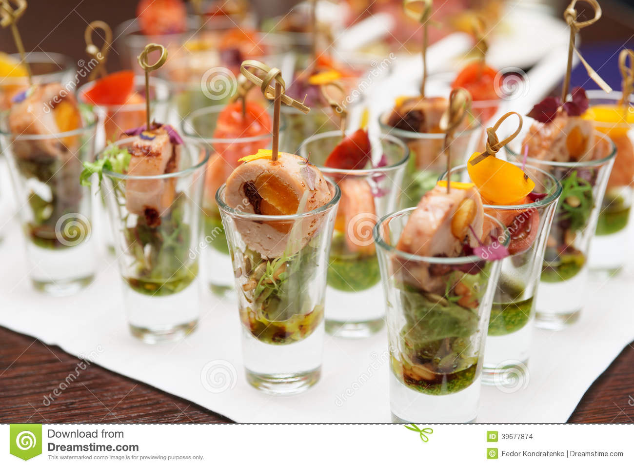 Various Snacks In Shot Glasses Stock Photo Image 39677874