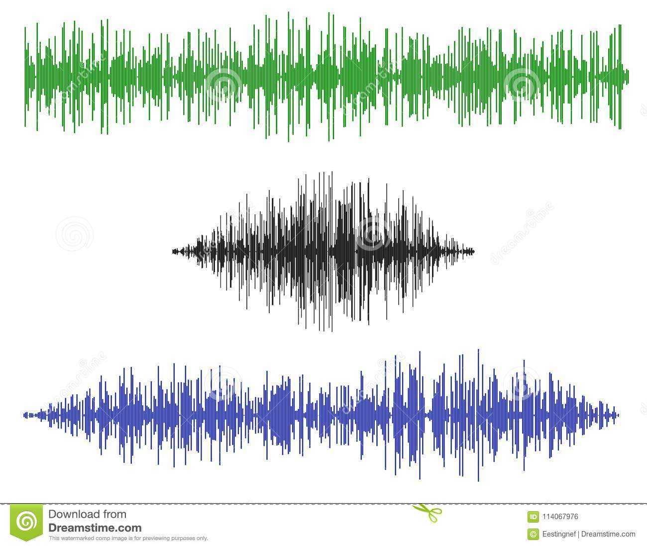 Various sound waves. Isolated on white background.Vector illustration.