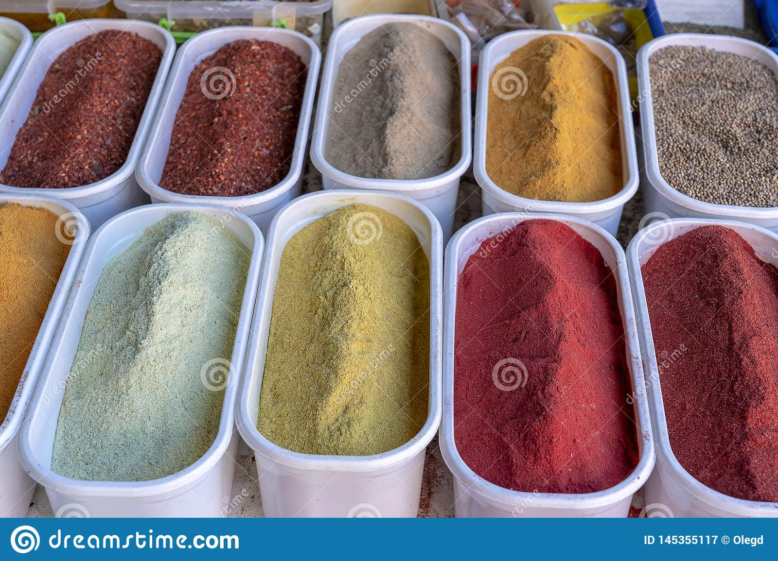Various spices on farmer market in Georgia. Close up royalty free stock photography