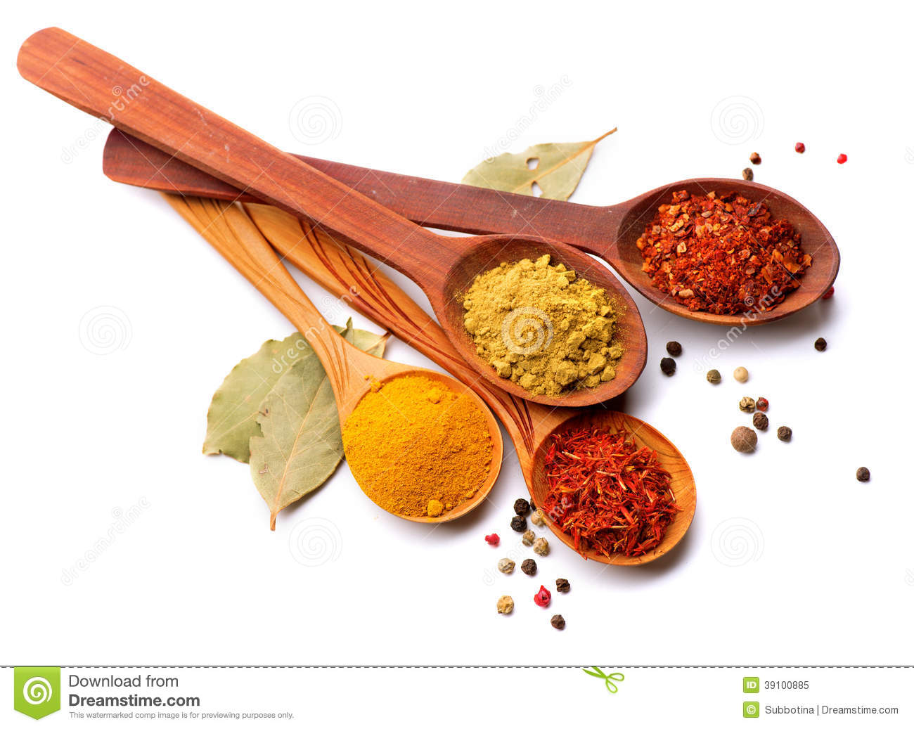 Various Spices And Herbs Over White Stock Photo Image