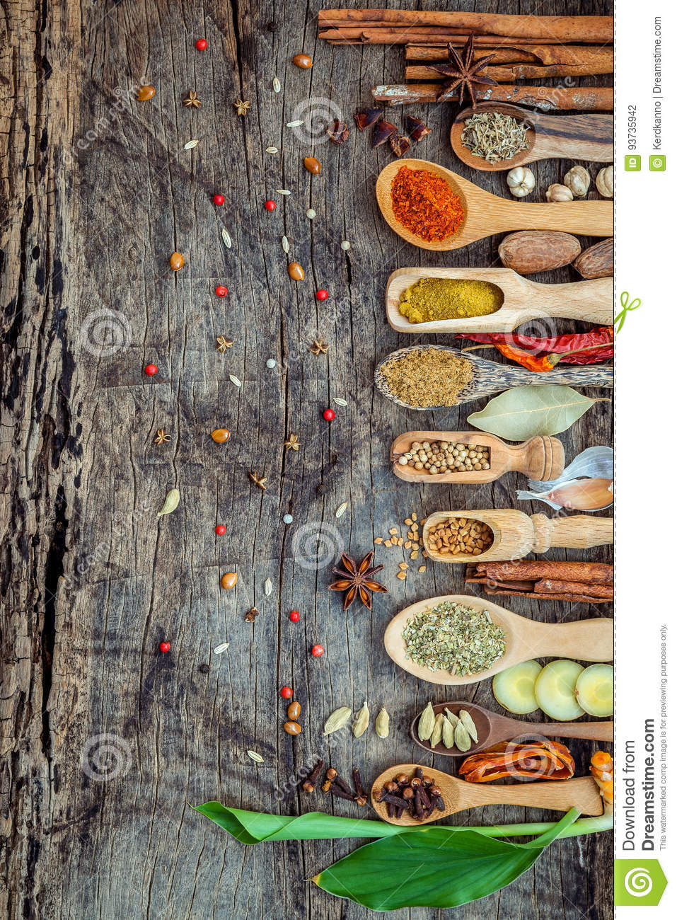 Various of spices and herbs in wooden spoons. Flat lay of spices