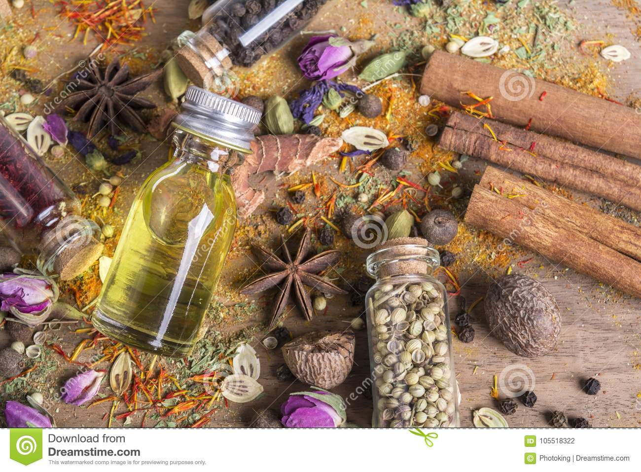 Various spices seeds