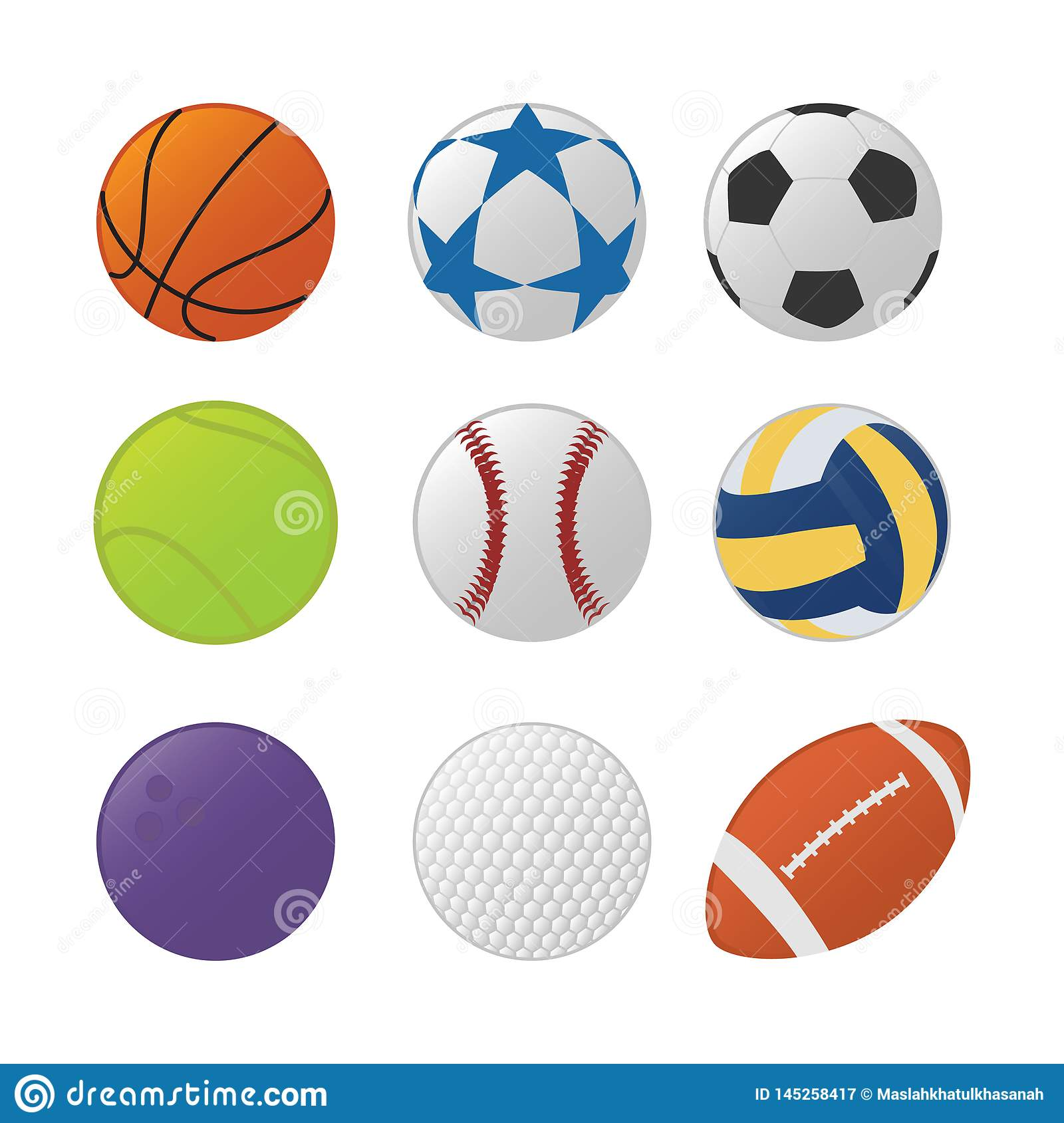 Various sport ball set collection with various type sports and colorfull type - vector