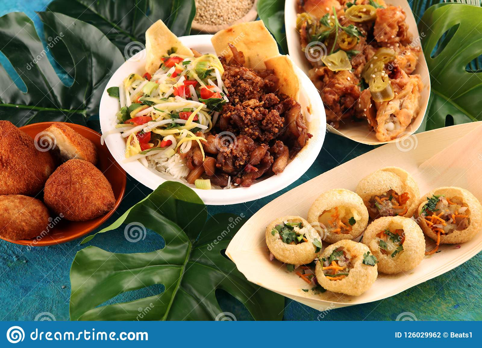 Various Street Food With Pani Puri Chicken Wings And
