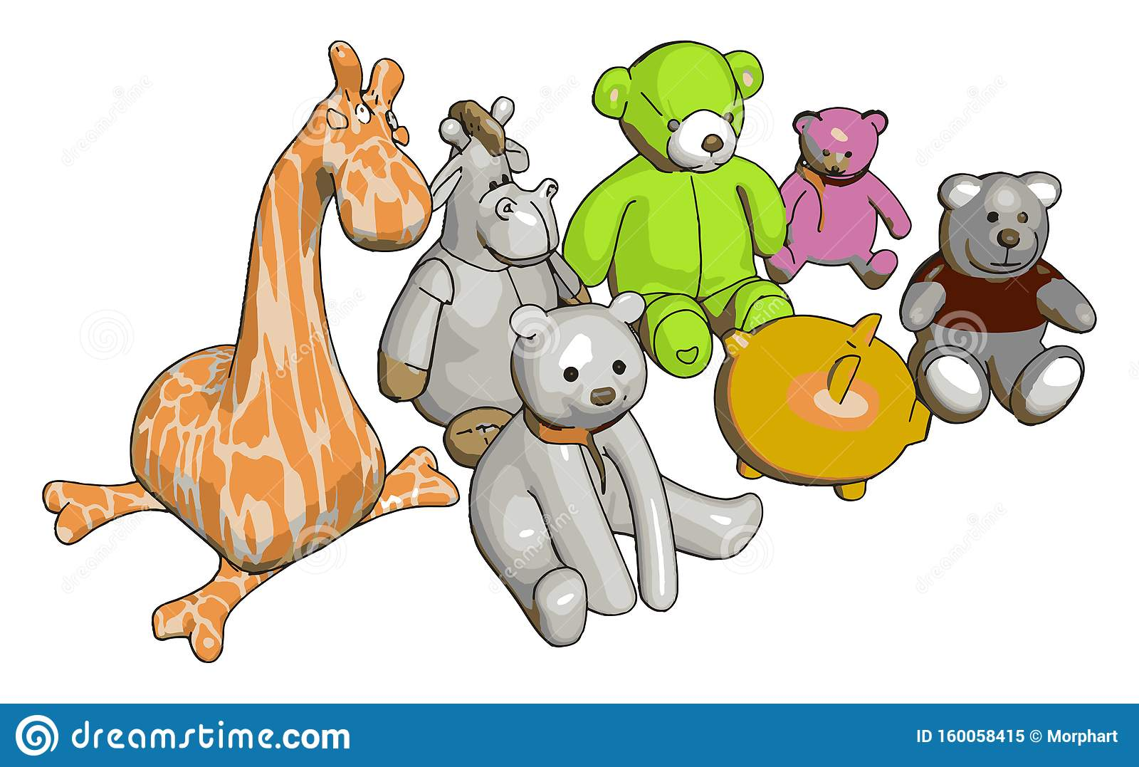 Various Stuffed Toy Animals Vector Illustration Stock Vector Illustration Of Kids Instrument 160058415
