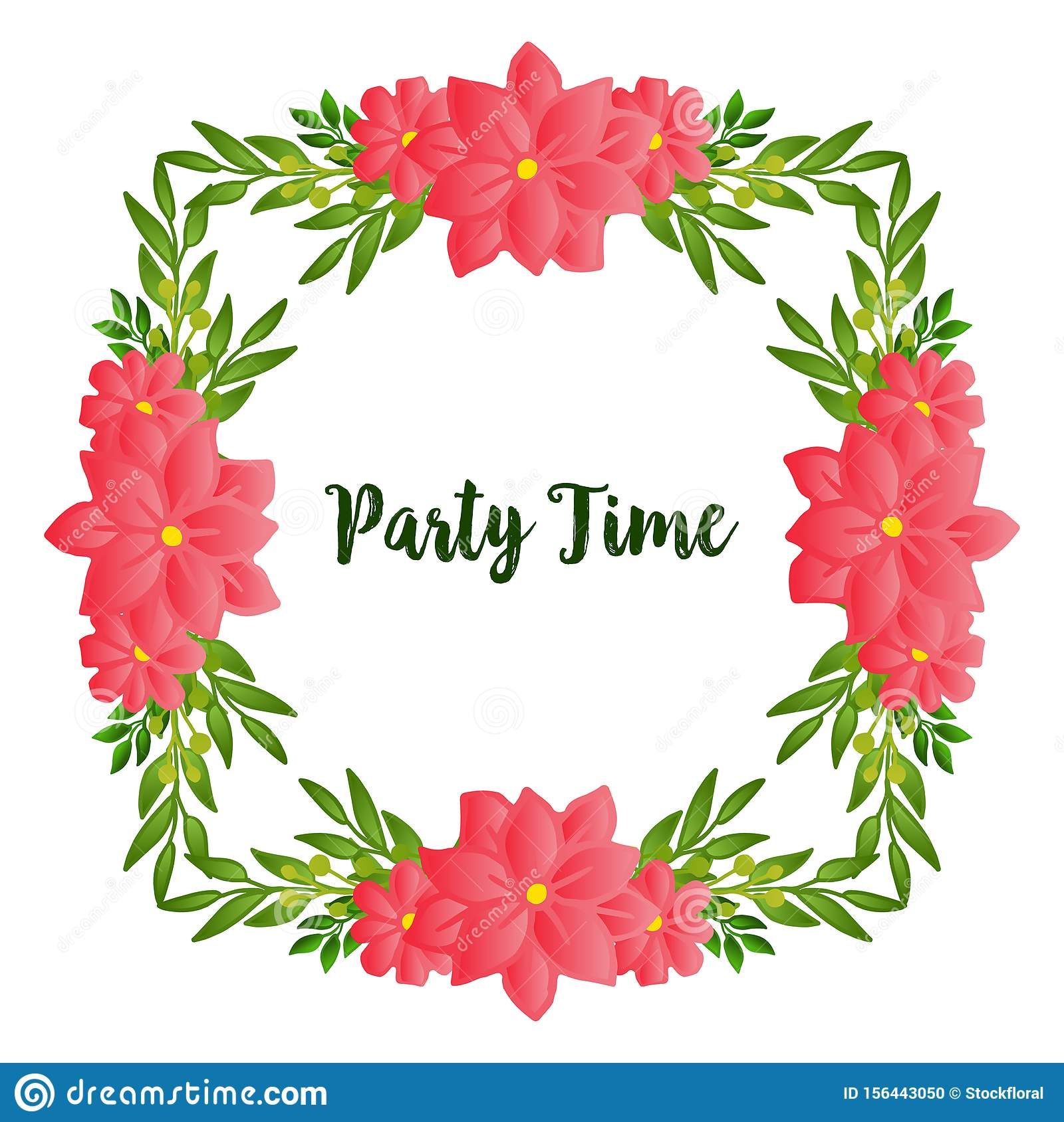 Various style green leafy flower frame, for design of party time card. Vector