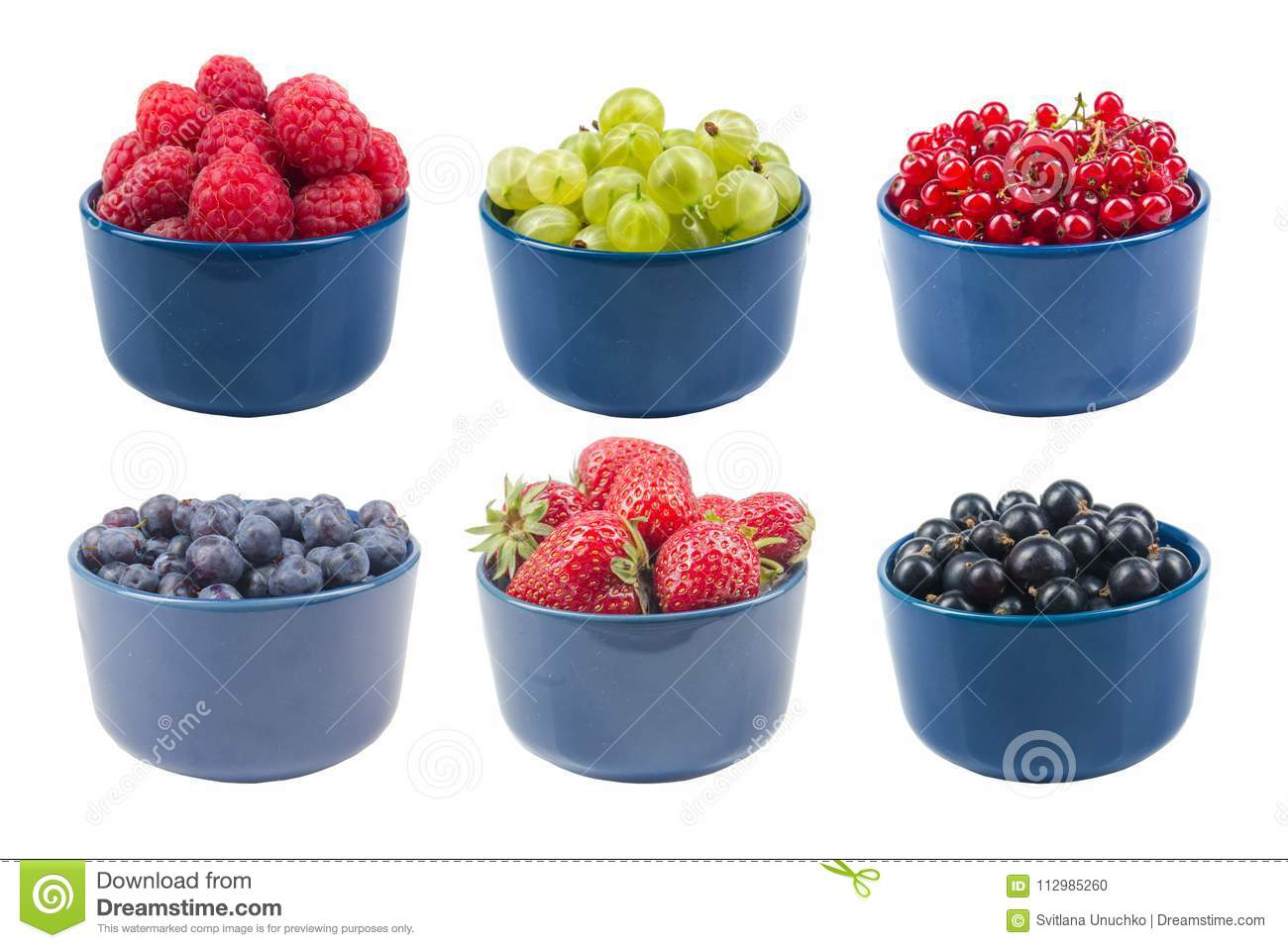 Berries on Isolated white background, bowl of Cherry, currant, blueberries, gooseberries, raspberries, blackberries