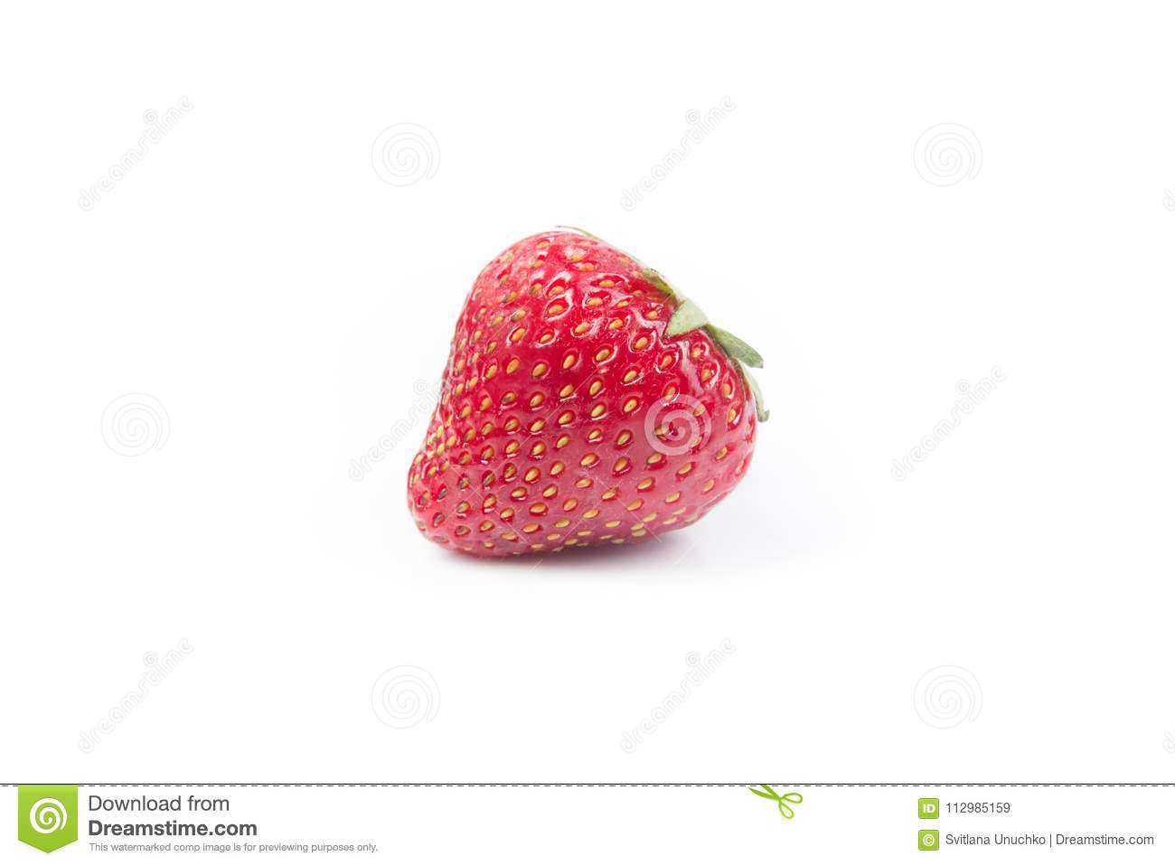 Fresh ripe Strawberry berry in closeup on isolated white background. Berries