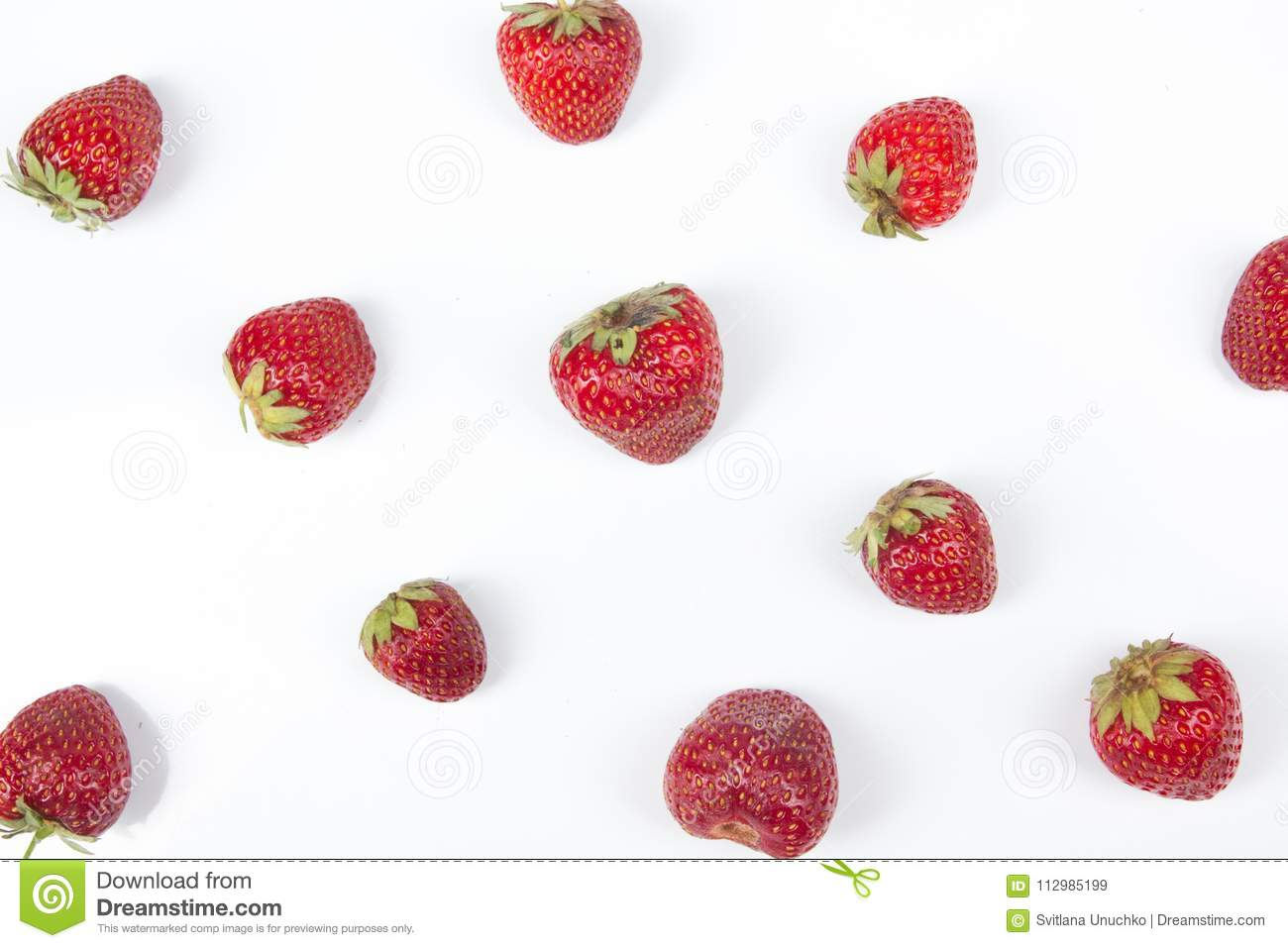 Various summer Fresh Strawberry berries in a white background.. Antioxidants, detox diet, organic fruits. Top view