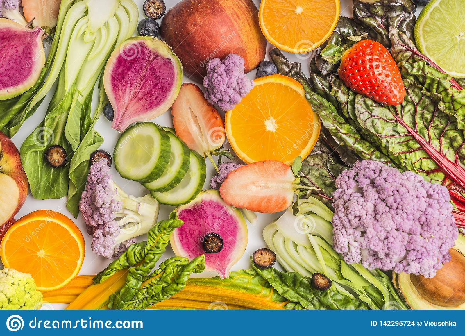Various Summer Fruits And Vegetables Food Background , Top View