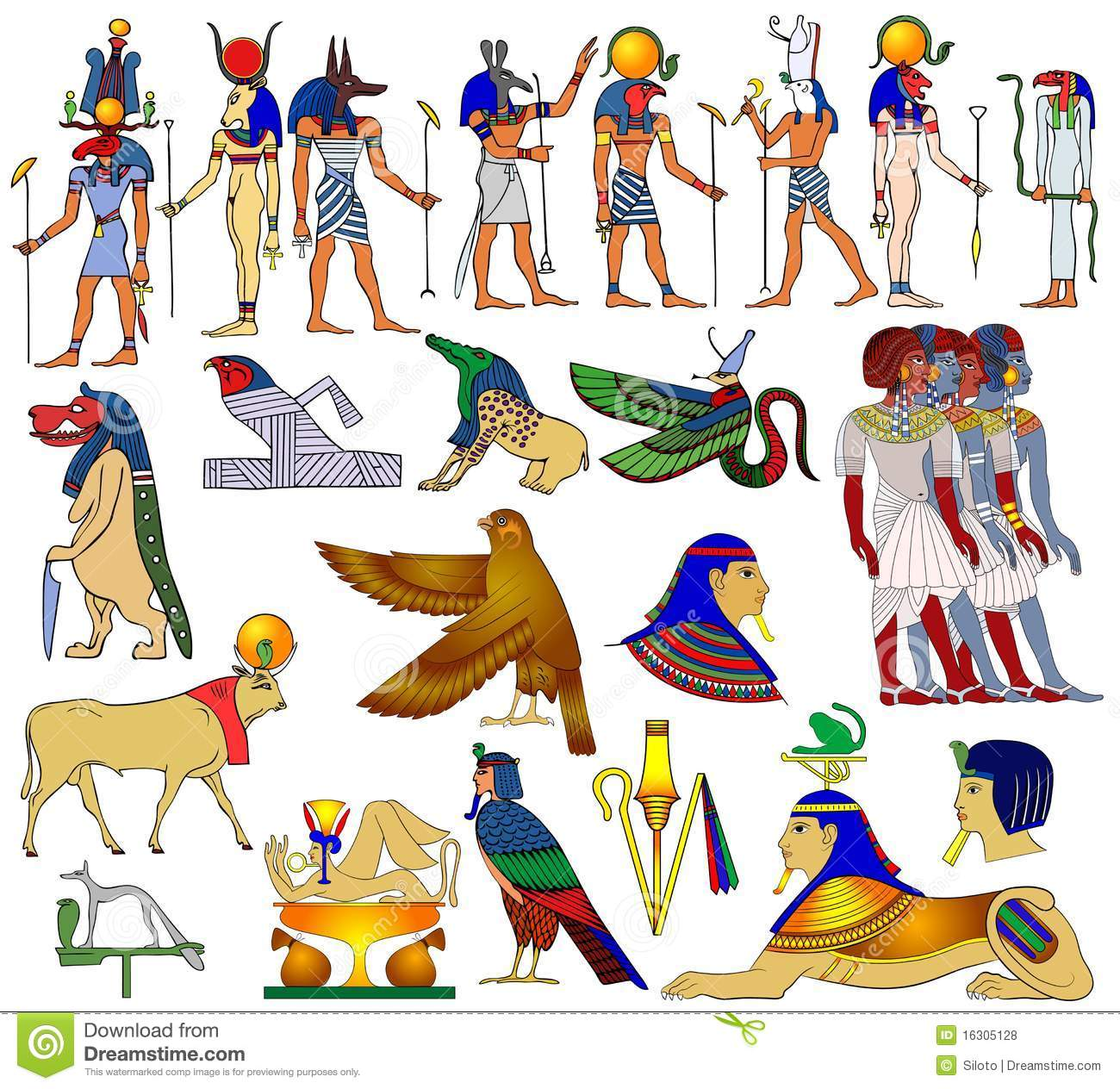 Various themes of ancient Egypt -