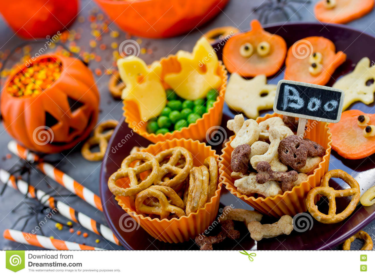 Various Treats On Halloween Party, Funny And Healthy Snacks