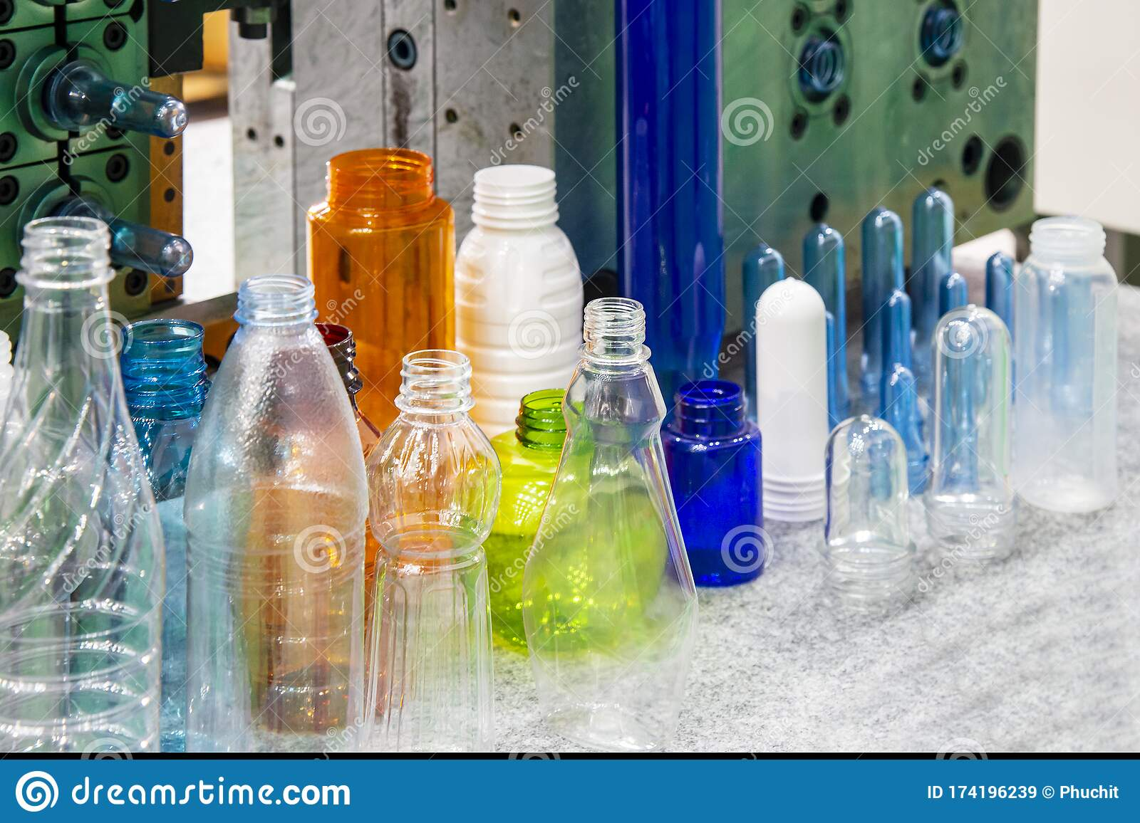 The Various Type Of Plastic Bottles And The Preform Shape With The Injection Mold Background In The Drinking Water Factory Stock Image Image Of Chemical Background 174196239