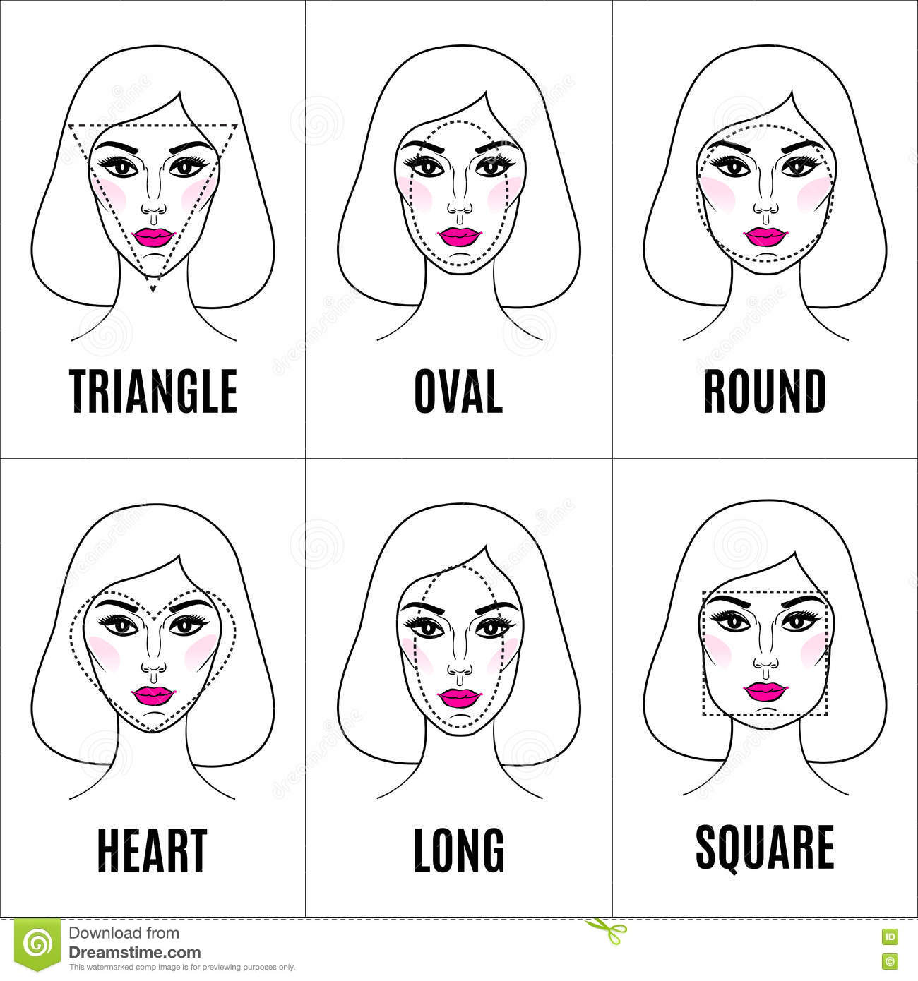 eec64b5a278 Royalty-Free Vector. Various types of female faces. Set of different face  shapes.