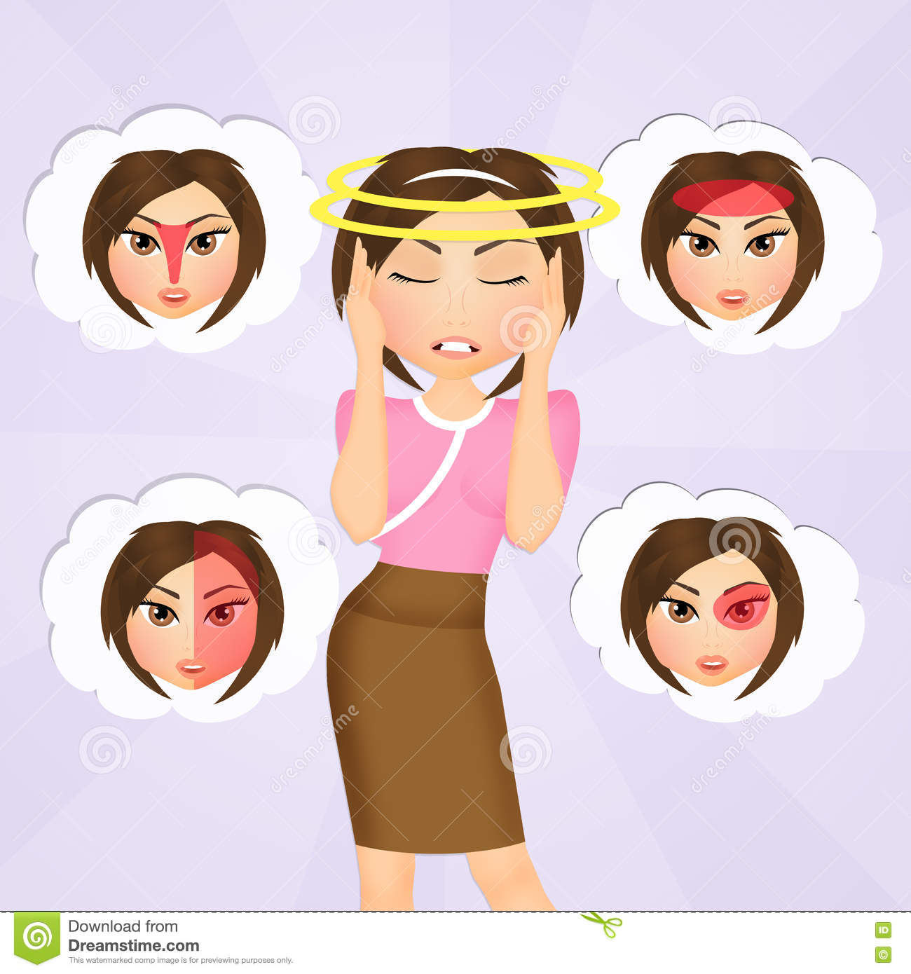 Illustration about headaches 4 type on different area of patient various types of headaches stock photography pooptronica Image collections