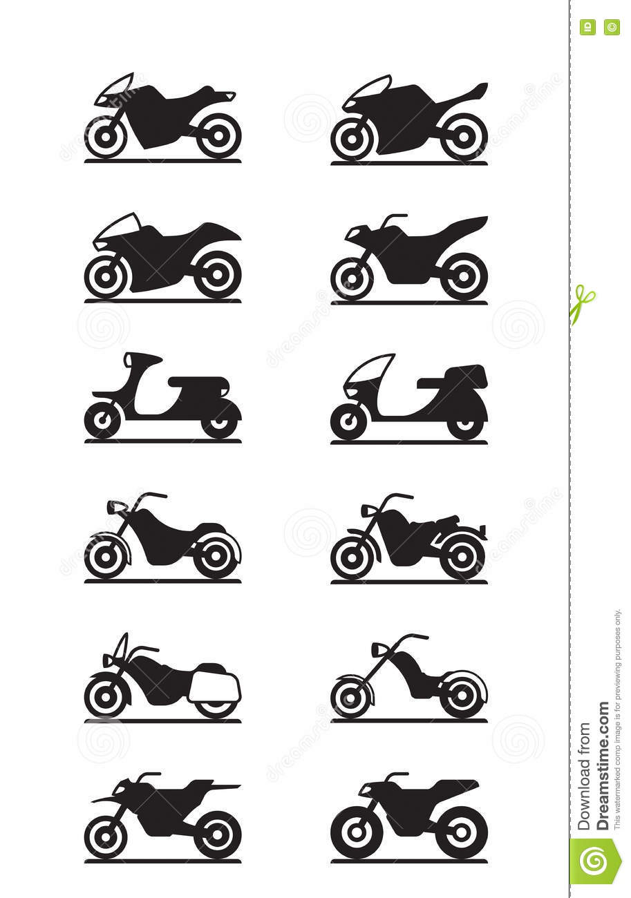 Various Types Of Motorcycles Stock Vector