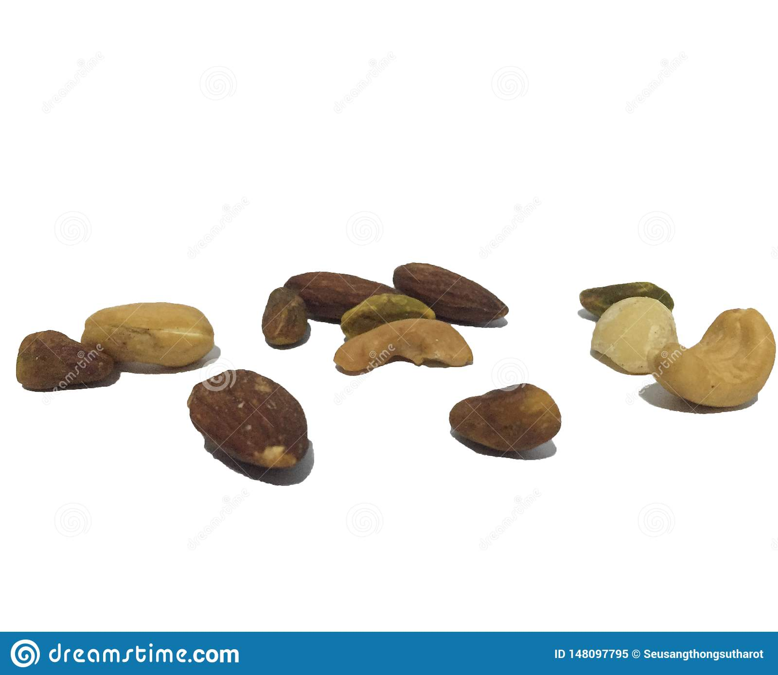 Various types of nuts ,White background