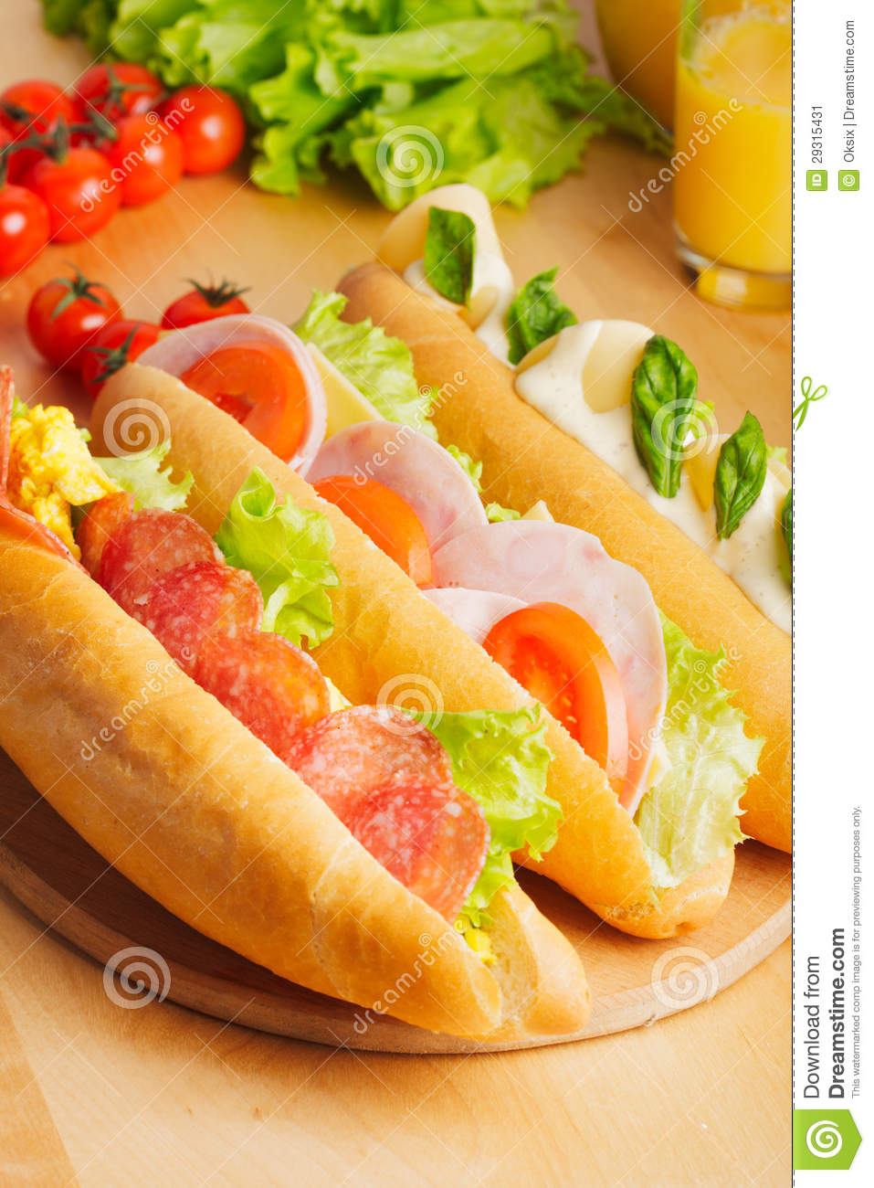 Various Types Of Sandwiches Stock Image - Image: 29315431