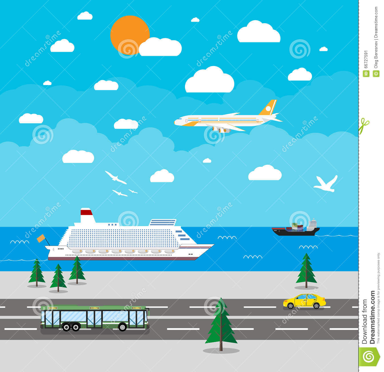 various types of transport stock vector image 66727591