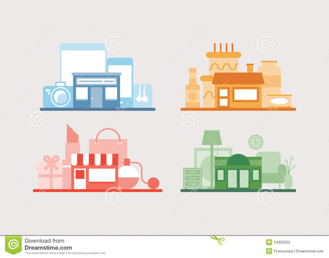 Various vector store design collection stock vector for Store layout design online