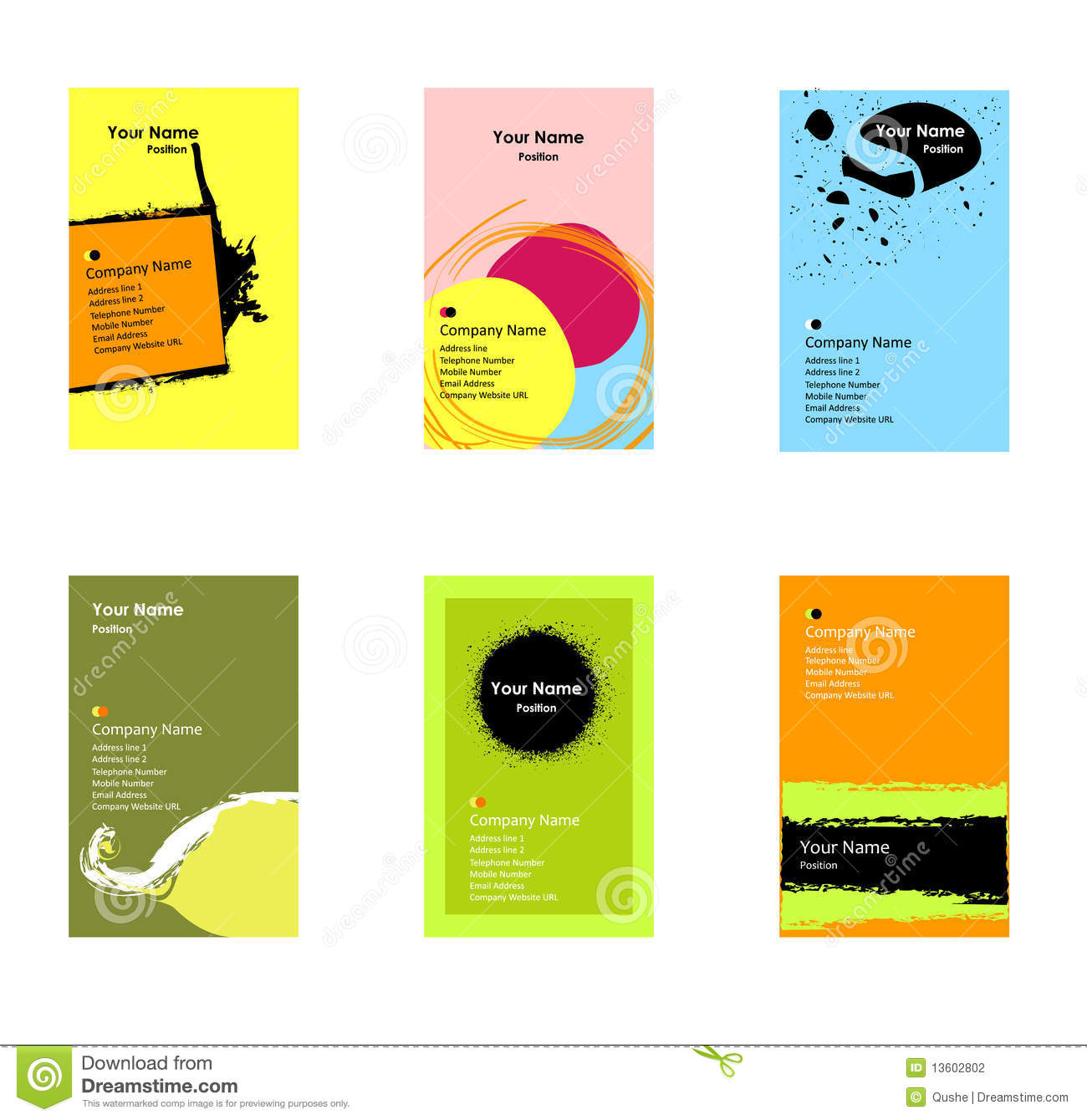 Various Vertical Business Cards Stock Photography Image