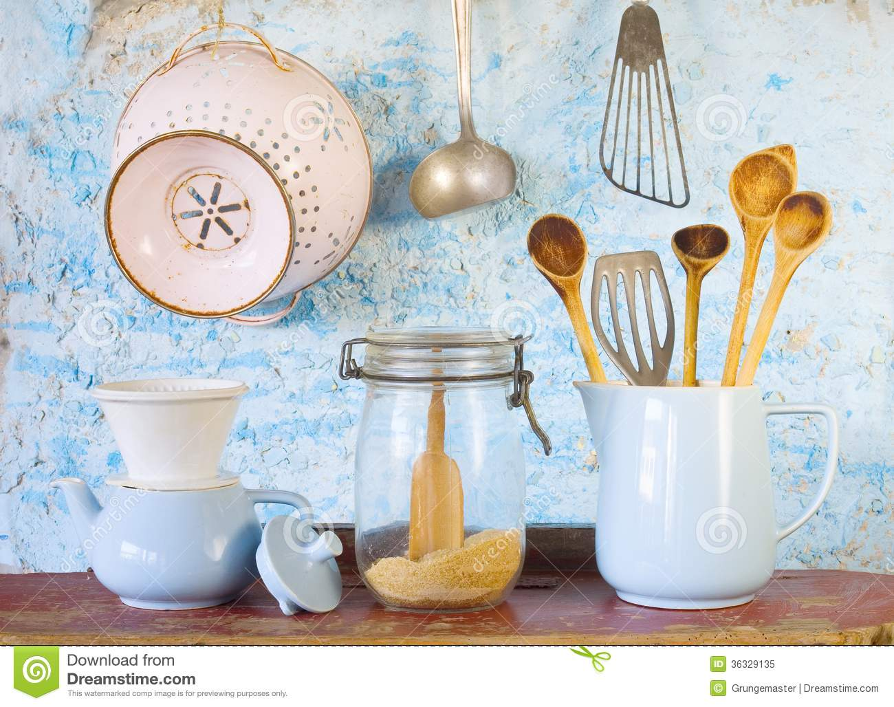 Various vintage kitchen utensils royalty free stock photo - Ustensile de cuisine vintage ...