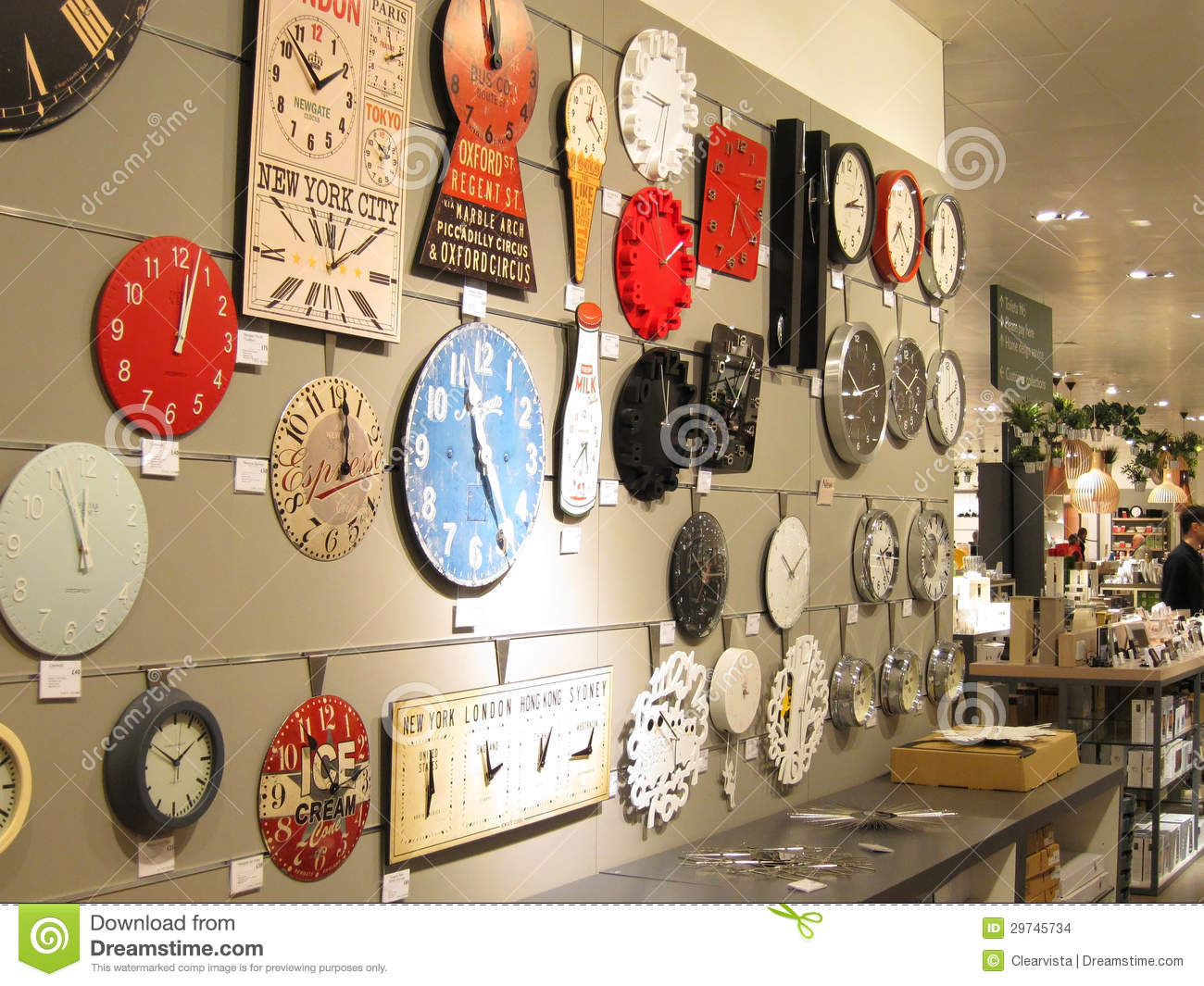 Clocks On A Wall For Sale Editorial Stock Image Image