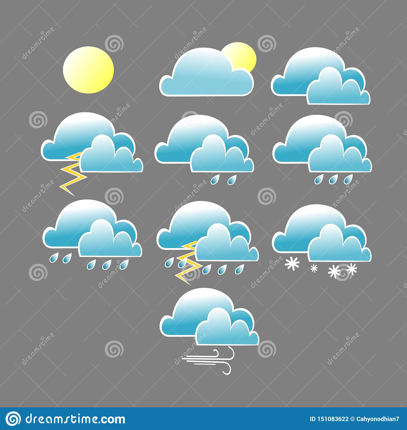 Various weather conditions icon with blue cloud